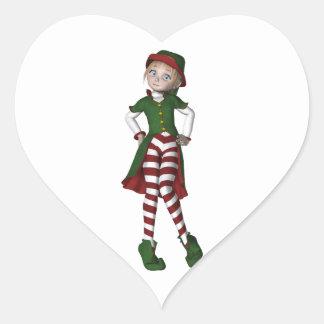 El duende más lindo del navidad pegatina en forma de corazón