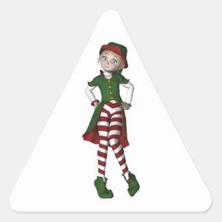 El duende más lindo del navidad pegatina triangular