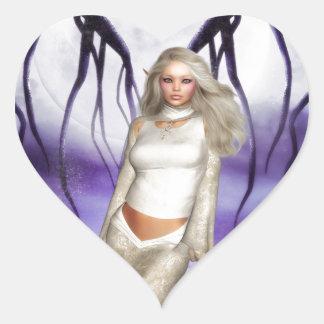 El duende pegatina en forma de corazón