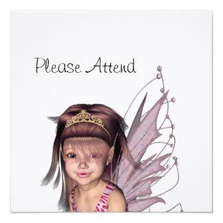 """El duendecillo rosado 5 - personalice invitación 5.25"""" x 5.25"""""""