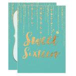 """El dulce 16 de PixDezines, las secuencias de oro Invitación 5"""" X 7"""""""