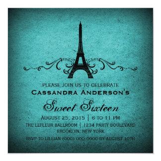 """El dulce 16 del Flourish del francés del vintage Invitación 5.25"""" X 5.25"""""""