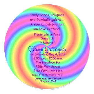 El dulce 16 del Lollipop del tema del caramelo de Invitación 13,3 Cm X 13,3cm