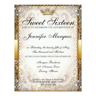 El dulce adornado dieciséis del guión del cuento invitación 10,8 x 13,9 cm