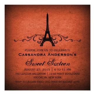 """El dulce anaranjado 16 del Flourish del francés Invitación 5.25"""" X 5.25"""""""