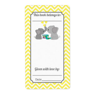 El dulce besa el Bookplate amarillo de Chevron del Etiqueta De Envío
