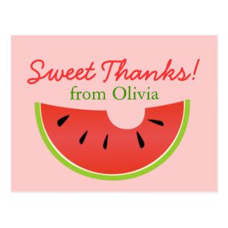 El dulce de la mordedura de la sandía agradece la  tarjeta postal