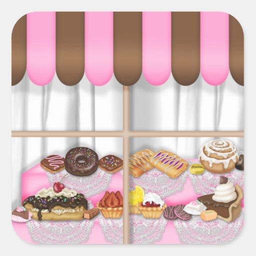El dulce de la panadería de la diversión trata al pegatina cuadrada