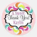 El dulce de los Lollipops le agradece los Pegatinas Redondas
