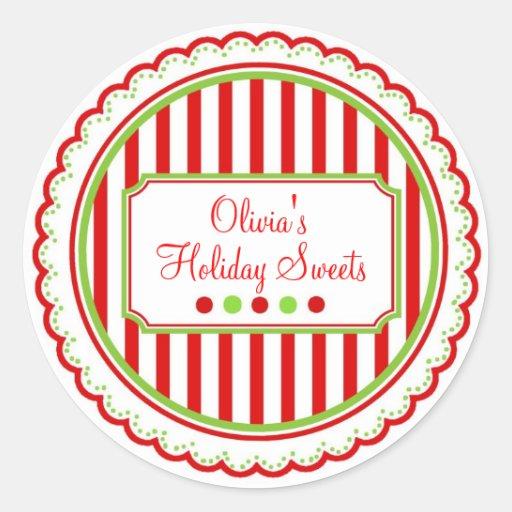 El dulce del navidad raya a los pegatinas del día pegatina redonda