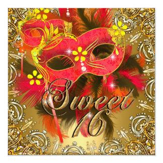 """El dulce dieciséis 16 disfraza el oro amarillo invitación 5.25"""" x 5.25"""""""