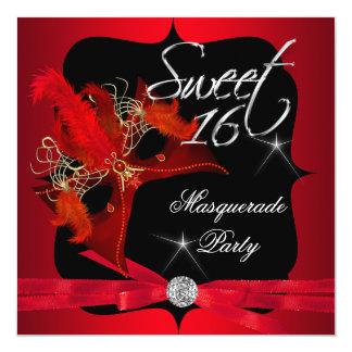 """El dulce dieciséis 16 disfraza negro rojo invitación 5.25"""" x 5.25"""""""