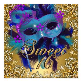 """El dulce dieciséis 16 disfraza púrpura azul del invitación 5.25"""" x 5.25"""""""