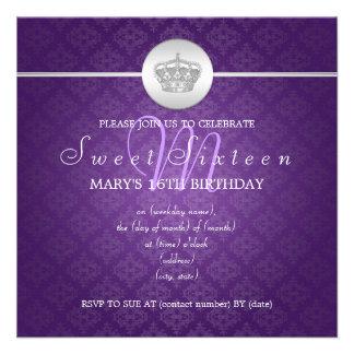 El dulce dieciséis va de fiesta púrpura real de la anuncio personalizado