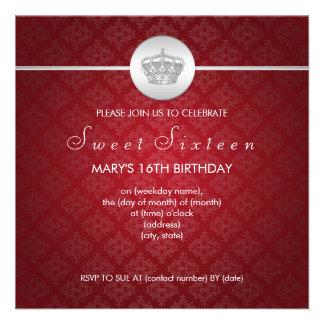 El dulce dieciséis va de fiesta rojo real de la co invitacion personal