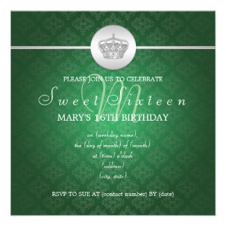 El dulce dieciséis va de fiesta verde real de la c invitaciones personalizada