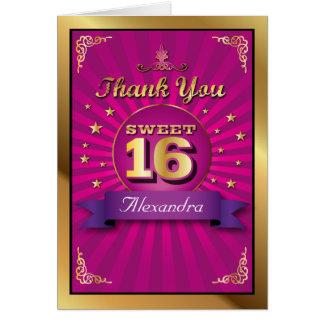 El dulce grande 16 del rosa del golpe le agradece  tarjeta pequeña