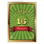 El dulce grande 16 del verde del golpe le agradece tarjetas