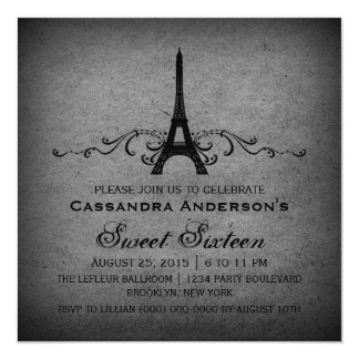 "El dulce gris 16 del Flourish del francés del Invitación 5.25"" X 5.25"""