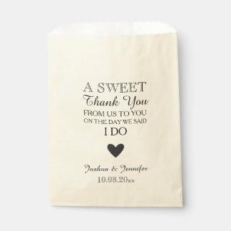 El dulce le agradece comida fría de la barra de bolsas de recuerdo