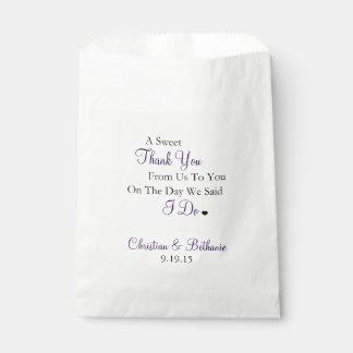 El dulce le agradece personalizó el boda púrpura bolsas de recuerdo
