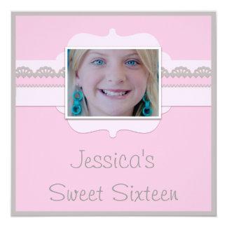 """El dulce lindo 16 rosado y el gris añaden su foto invitación 5.25"""" x 5.25"""""""