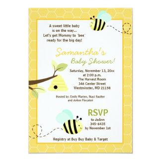 """El dulce manosea a la mamá de la abeja a la abeja invitación 5"""" x 7"""""""