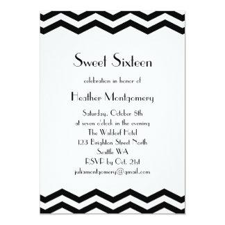 El dulce negro y blanco dieciséis del vintage de invitación 12,7 x 17,8 cm