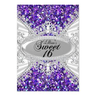 """El dulce púrpura 16 de la tiara del diamante del invitación 5"""" x 7"""""""