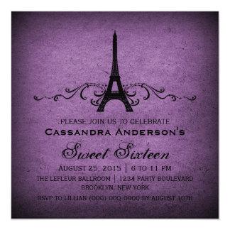 """El dulce púrpura 16 del Flourish del francés del Invitación 5.25"""" X 5.25"""""""