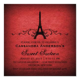 "El dulce rojo 16 del Flourish del francés del Invitación 5.25"" X 5.25"""