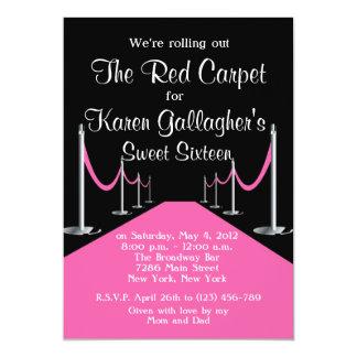 El dulce rojo/rosado 16 de Hollywood de la Invitación 12,7 X 17,8 Cm