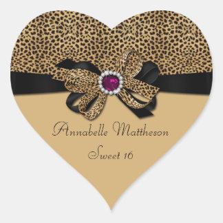 El dulce rosado 16 de los diamantes de la joya del pegatina en forma de corazón