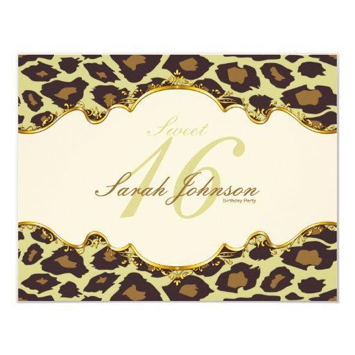"""El dulce """"sentido"""" elegante dieciséis del leopardo invitación 4.25"""" x 5.5"""""""
