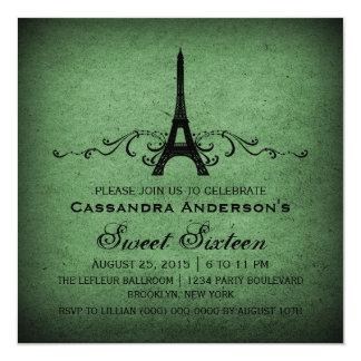 """El dulce verde 16 del Flourish del francés del Invitación 5.25"""" X 5.25"""""""