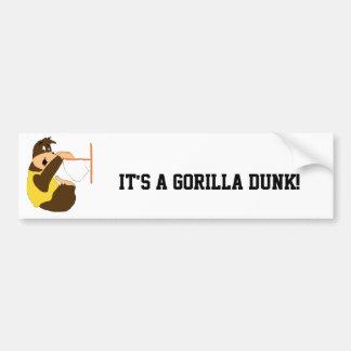 El Dunking del golpe del gorila del dibujo animado Pegatina Para Auto