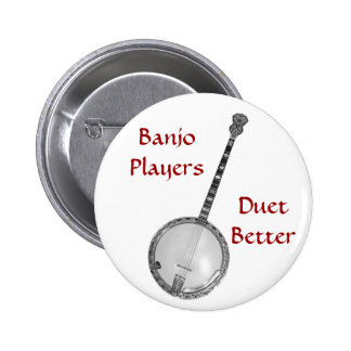 El dúo de los jugadores del banjo mejora el botón pin redondo de 2 pulgadas