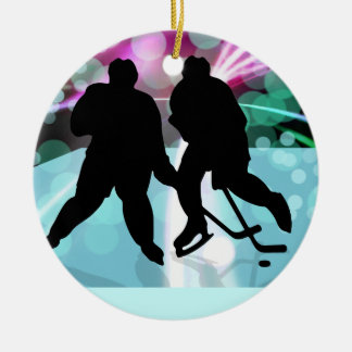 El dúo del hockey hace frente apagado adorno redondo de cerámica