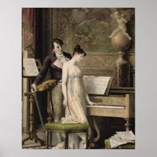 El dúo (mezzotint) impresiones