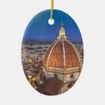El Duomo en Florencia, Italia Adorno Navideño Ovalado De Cerámica