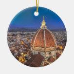 El Duomo en Florencia, Italia Adorno Navideño Redondo De Cerámica