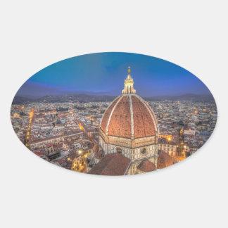 El Duomo en Florencia, Italia Pegatina Ovalada