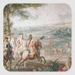 El duque de Marlborough examina a sus tropas Calcomanías Cuadradass Personalizadas