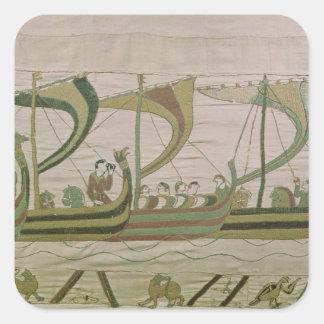El duque Guillermo y su flota cruza el canal Pegatinas Cuadradases Personalizadas