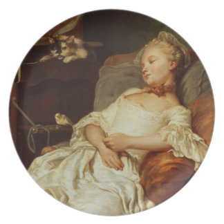 El durmiente, 1759 (aceite en lona) platos para fiestas