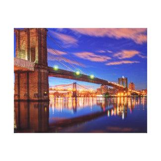 El East River, puente de Brooklyn, Manhattan Lona Envuelta Para Galerías