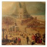 El edificio de la torre de Babel (el panel) Azulejo Cuadrado Grande