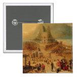 El edificio de la torre de Babel (el panel) Pin Cuadrado