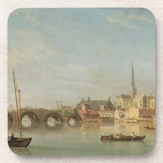 El edificio del puente de Westminster con un imagi Posavasos De Bebidas