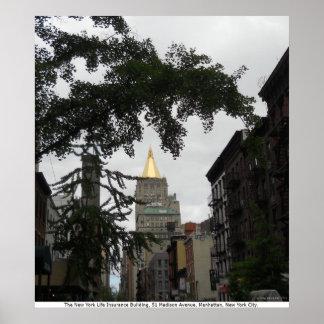 El edificio del seguro de vida de Nueva York, lona Posters